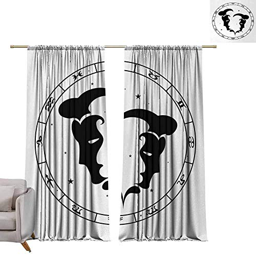Decorative Curtains for Living Room Zodiac Gemini Zodiac Wheel with Twelve Signs Abstract Male Portraits with Stars Tattoo Noise Reducing W108 xL84 Black and White (12 Good And Bad Qualities Of A Gemini)