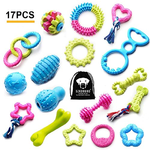(SZKOKUHO 17 Packs Durable Pet Puppy Dog Chew Toys Set Puppy Teething Ball Toys Puppy Rope Dog Tug Toy Safety Design)