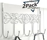 PerriRock 5 Hanger Rack(2 Pack)- Decorative Metal Door Hooks Hanger Holder for Home Office Kitchen Use Coat Hook Rack (White)