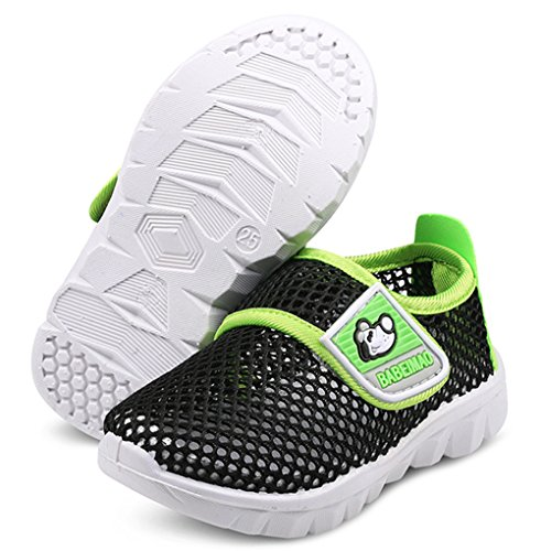 DADAWEN Baby's Boy's Girl's Water Shoes Lightweight Breathable Mesh Running Sneakers Sandals Black US Size 5 M Toddler
