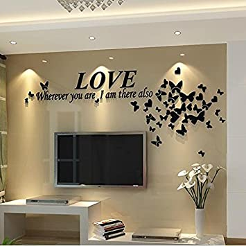 Ammybeddings Love Quotes And Butterfly Pattern 3D Wall StickersWall Art DecalAcrylic