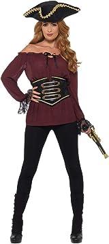 NET TOYS Atractiva Blusa de Pirata | Burdeos en Talla S (ES 36/38) | Llamativo Vestuario para Mujer Blusa de Pirata | El Hit para Fiestas de Pirata y Fiestas temáticas: Amazon.es:
