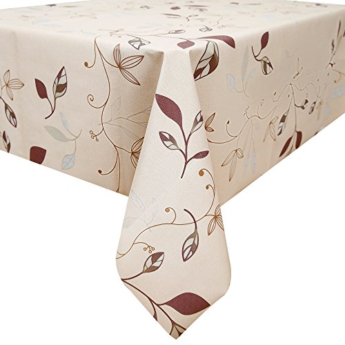 Fancy-fix Tablecloth Heavy Weight Vinyl Table Linens Oil-proof/ Water-proof/Mildew-proof Vinyl Green Leaves Rectangular Waterproof Tablecloth 54 x 78-inch
