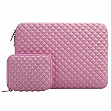 Mosiso 2017 / 2016 MacBook Pro 13 Inch Sleeve (A1706/A1708, with/without Touch Bar) / Microsoft New Surface Pro 2017 / Surface Pro 4 / 3 Diamond Foam Water Repellent Lycra Laptop Bag Cover with Small Case, Rose Quartz