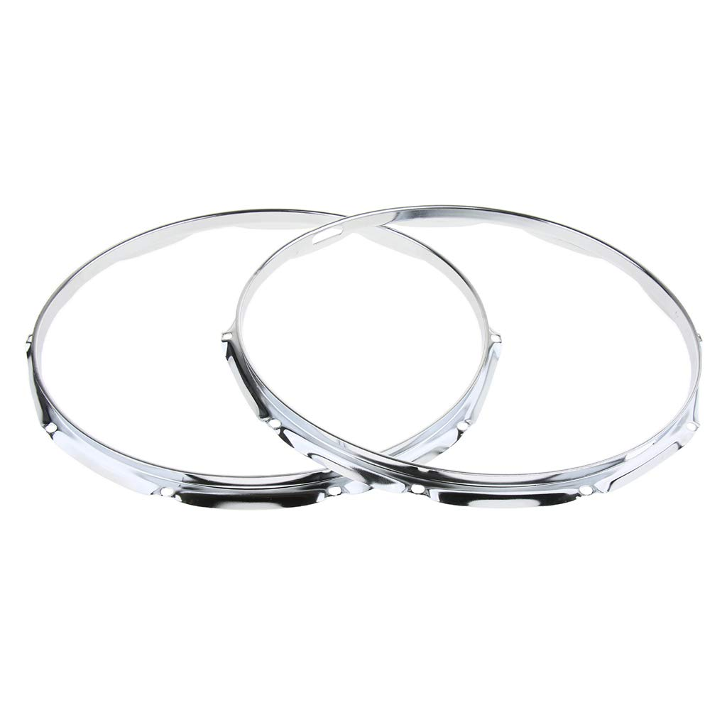 B Blesiya 2pcs Drum Die Cast Hoop Ring Rim for 14inch Snare Drum Percussion Instrument 10 Hole Silver
