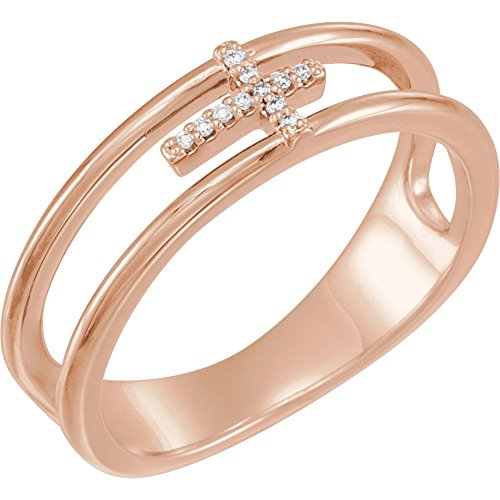 14K Rose .03 CTW Diamond Negative Space Cross Ring (Negative Space Cross)