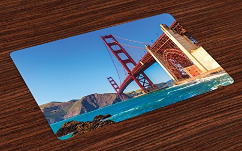 - Lunarable Travel Place Mats Set of 4, San Francisco Golden Gate Bridge GGB from Marshall Beach in California USA Shore, Washable Fabric Placemats for Dining Table, Standard Size, Ivory Blue