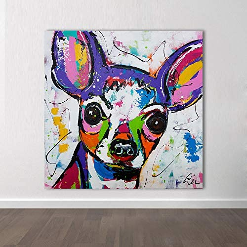 Llxhg現代抽象動物キャンバスアートチワワ犬ポップアート壁写真用リビングルーム家の装飾絵画なしフレーム壁アート-60×60センチなしフレーム