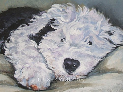 A Old English Sheepdog dog art portrait print of an LA Shepard painting 12x16