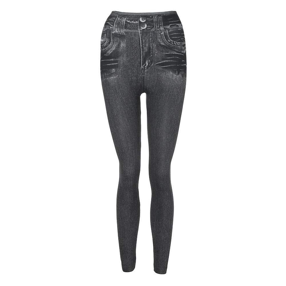 iLUGU Women Denim Pants Pocket Slim Leggings Fitness Plus Size Leggins Women pajama pants Length Jeans