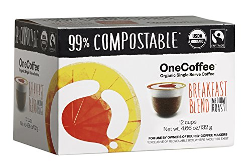 OneCoffee Organic Breakfast Blend 12 Count Single Serve Coffee 99% Compostable K Cup for Keurig Machines Toffee Flavored Regular Coffee