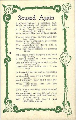 Soused Again - Poem Drinking Original Vintage Postcard