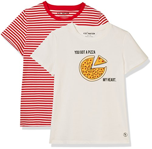 Kid Nation Kid's 2 Pack Cotton Jersey T-Shirts for Boys or Girls XL White+White/Red