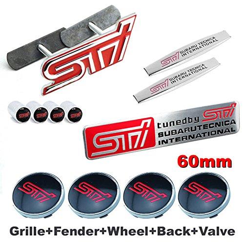 12pcs Sets AM67 STI Front Grille Red Wheel Tire Valve Caps Stem Air Car Emblem Badge For SUBARU LEGACY OUTBACK FORESTER Impreza WRX BRZ Wheel Hub Caps Fender Side Sticker+ Back Sticker