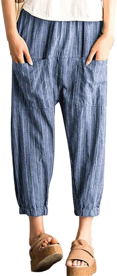 Gusspower Mujer Pantalones de Pierna Ancha Algodón Pantalón de Harem Tallas Grandes Moda Estampado de Rayas Cintura Alta Pantalones Rectos Retro Baggy señoras con Bolsillo: Amazon.es: Ropa y accesorios