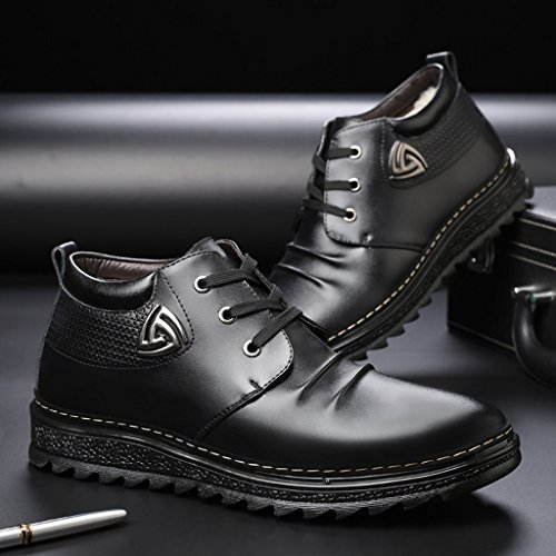 Herren Plus Plüsch Baumwolle Stiefel Winter Casual Lederschuhe Business Casual Schuhe 37-43 Black