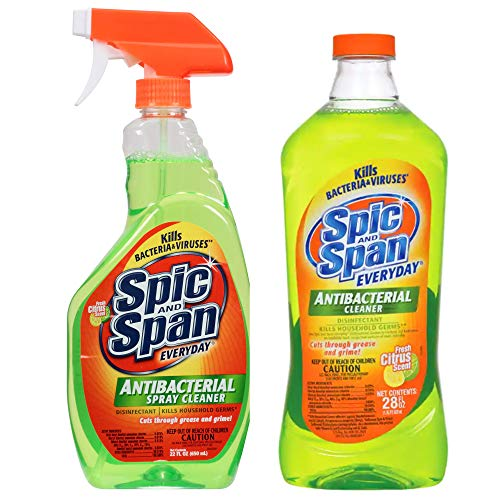 Spic and Span Antibacterial Cleaner Bundle - 22oz Spray with 28 oz Refill Pack - 50 Ounces Total (2)