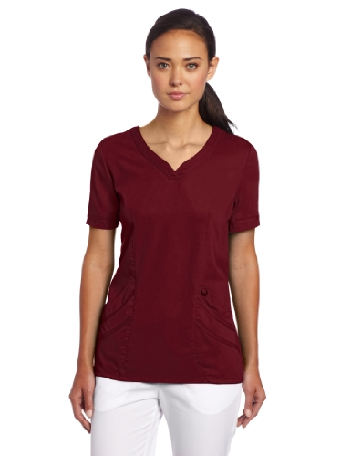 Urbane Women's Ultimate Soft Stretch Medical Sweetheart Neck Scrub Top, Wine, X-Large ()