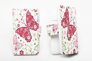 Accessory Master- Blanca Funda Libro de pu Cuero para Apple iPod Touch 4 - Mariposas Flores Rosas