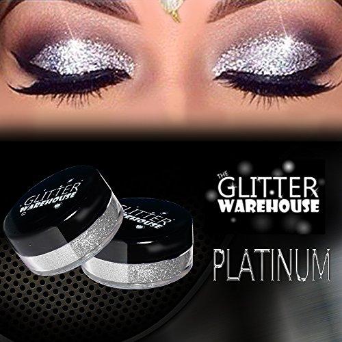 GlitterWarehouse Platinum Silver Loose Glitter Powder Great