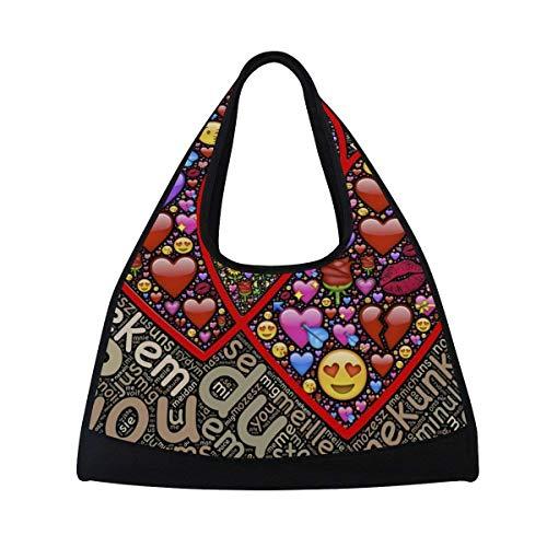 OSBLI Gym Bag Sports Heart Couple Emoticons Travel Shoulder Bag Duffel Bag for Men and Women by OSBLI