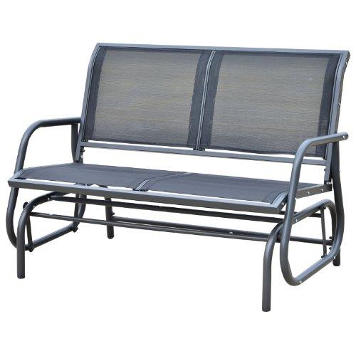 Outsunny® Schaukelbank Gartenbank Gartenschaukel Sitzbank Bank Parkbank Schaukel Metall Gartenmöbel 2-Sitzer
