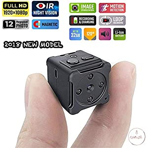 1080p Mini Portable Spy Hidden Camera Security with Night Vision and Motion Detection Home - Business - Office - Car Indoor/Outdoor Nanny Magnetic Surveillance Camera NO WiFi by MellowCase