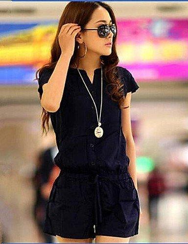 GSP-Frauen sowie Größe feste marineblau kurzen Overalls, casual kleinen V-Ausschnitt Kurzarm