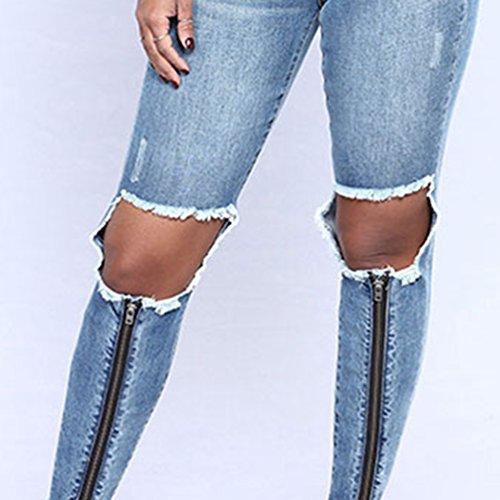 Jeans Femmes Pantalon Extensible Droits Zipper Kairuun Skinny Trou Pantalons Taille Ripped Haute Jeans De g546xxdwq