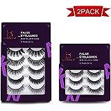 False Eyelashes Multipack 3D Long Lasting Natural Eyelashes Handmade Variety Pack Fake Eye Lashes Set in Bulk 8 Pairs/2 Pack by LK LANKIZ