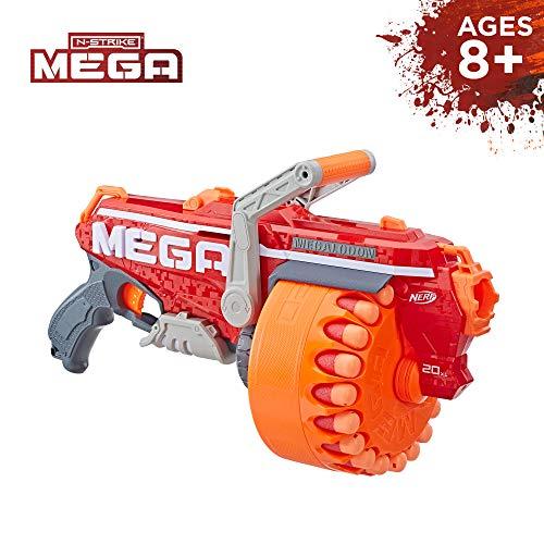 NERF Megalodon N-Strike Mega Toy Blaster with 20 Official Mega Whistler Darts Includes: Blaster, Drum, 20 Darts, & Instr