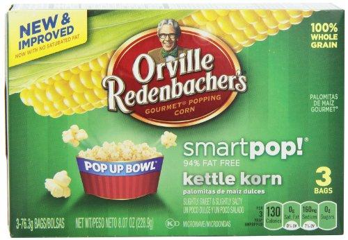 Kettle Redenbacher Korn Orville (Orville Redenbacher's Microwave Smart Pop Popcorn in Pop Up Bowl, Kettle Korn, 3 Count (Pack of 12))