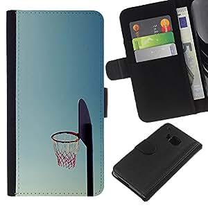 Cancha de Baloncesto aro - la tarjeta de Crédito Slots PU Funda de cuero Monedero caso cubierta de piel Para HTC One M9