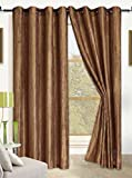Anitque Gold Orange Crushed Satin Window Curtain Panel With 8 Grommets, Curtains - 52''X84''