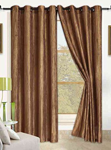 Anitque Gold Orange Crushed Satin Window Curtain Panel With 8 Grommets, Curtains - 52''X84'' by Window Treatment