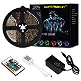 led lights changing color strip - SUPERNIGHT 5M/16.4 Ft SMD 3528 RGB 300 LED Color Changing Kit with Flexible Strip Light+24 Key IR Remote Control+ Power Supply