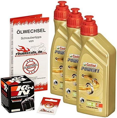 Castrol 10W-40 Öl + K&N Ölfilter für Honda XL 600 V Transalp, 87-00, PD06 PD10 - Ölwechselset inkl. Motoröl, Filter, Dichtring