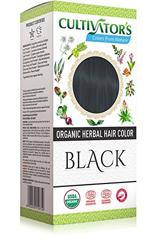 CULTIVATOR'S - Organic Herbal Hair Color - Black - Herbal Blend for Hair Dye and Care - Covers White Hair - No PDD and Harmful Ingredients - USDA and Ecocert Certified - Dermatologically tested ()