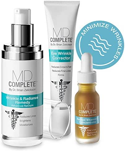 MD Complete Wrinkle Radiance Trio (3 Step System) Wrinkle Radiance Remedy + Eye Wrinkle Corrector + Retinol Vitamin C Concentrate Serum contains RETINOL as active ingredient