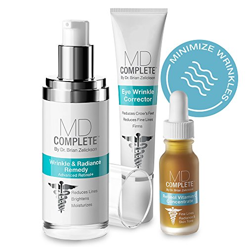 MD Complete WRINKLE & RADIANCE TRIO with RETINOL, VITAMIN C and PEPTIDES (3-Step Regimen: Wrinkle & Radiance Remedy 1.0 oz + Eye Wrinkle Corrector 0.5 oz + Retinol Vitamin C Serum 0.5 oz) TRIO