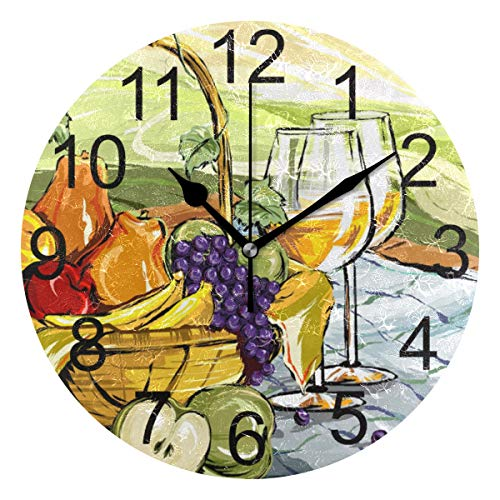 LUCASE LEMON ALEX Artistic Fruit Grapes Apple Oil Painting Round Acrylic Wall Clock Non Ticking Silent Clocks for Home Decor Living Room Kitchen Bedroom Office School