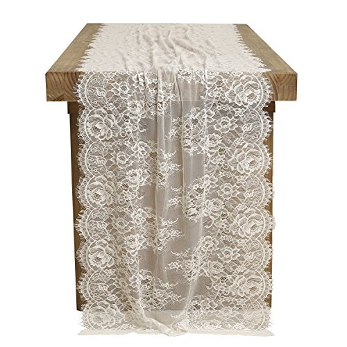 Ling's moment 28x120 inch White Alencon Lace Table runner Classical Wedding Decor, Lace Overlay Tablecloth Vintage Fall Garden Forest Wedding Reception Table Decoration Baby & Bridal Shower Décor