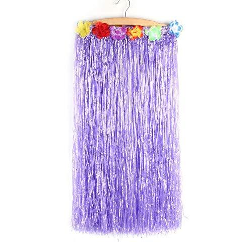 Women's Hawaiian Luau Hula Grass Skirt for Costume Party Events Birthdays Celebration (80cm/32) (Purple)
