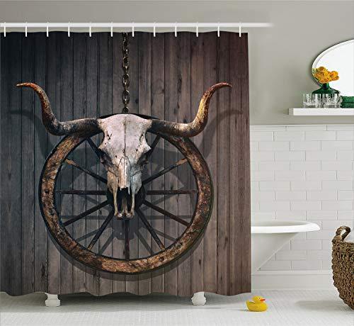 Ambesonne Barn Wood Wagon Wheel Shower Curtain, Long Horned Bull Skull and Old West Wagon Wheel on Rustic Wall, Cloth Fabric Bathroom Decor Set with Hooks, 84