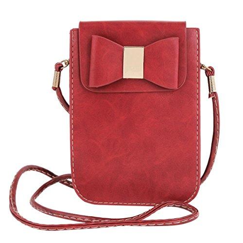 Damara Encantador Mujeres Cartera Bandolera Bolsa De Teléfono Con Lazo Rojo