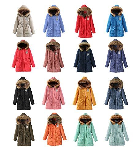 Overcoat Warm Blu Jacket Bigood Parka Casual Womens Outwear Hooded Scuro PExw4Yq