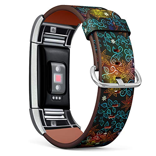 (R-TECH Leather Replacement Strap Compatible with Fitbit Charge 2 - Grunge Floral Ornament )