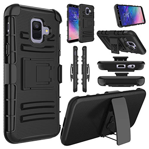 (Elegant Choise Compatible with Galaxy A6 Case, Samsung A6 Case, Hybrid Heavy Duty Shockproof Rugged Holster Full Body Protective Case Cover with Kickstand and Swivel Belt)