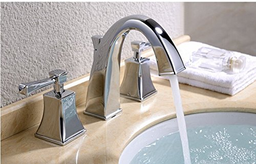 GOWE Widespread Bathroom Basin Vessel Sink Faucet Chrome Brass Basin Mixer Taps Dual Handle 0