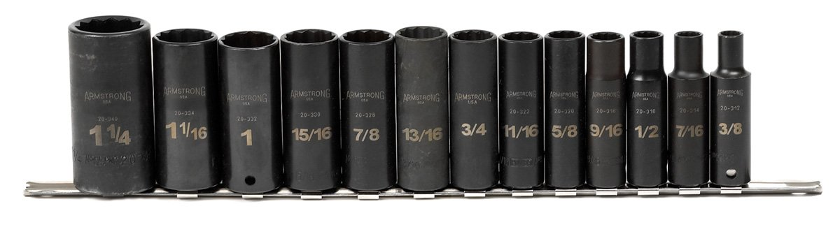 ARMSTRONG 20-660 1/2-Inch Drive 12-Point Deep Black Oxide Socket Set, 14-Piece
